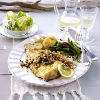 Fried Sole with Shrimp and Green Beans.