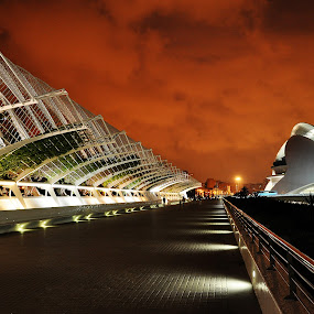 red night by Jarka Vojtaššáková - City,  Street & Park  Street Scenes ( architectural lines, night photography, street scene, valencia, urban landscape, spain )
