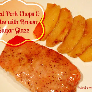 Baked Pork Chops and Apples with Brown Sugar Glaze.