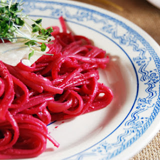 Roasted Beet Pesto with Goat Cheese over Linguine