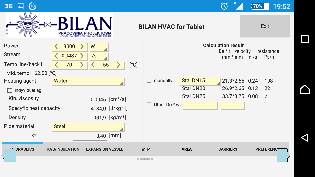 Bilan HVAC Simple for Tablet- screenshot