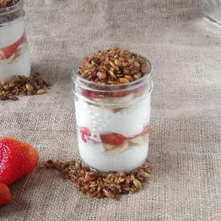 Strawberry Banana Yogurt Parfait with Quinoa Muesli