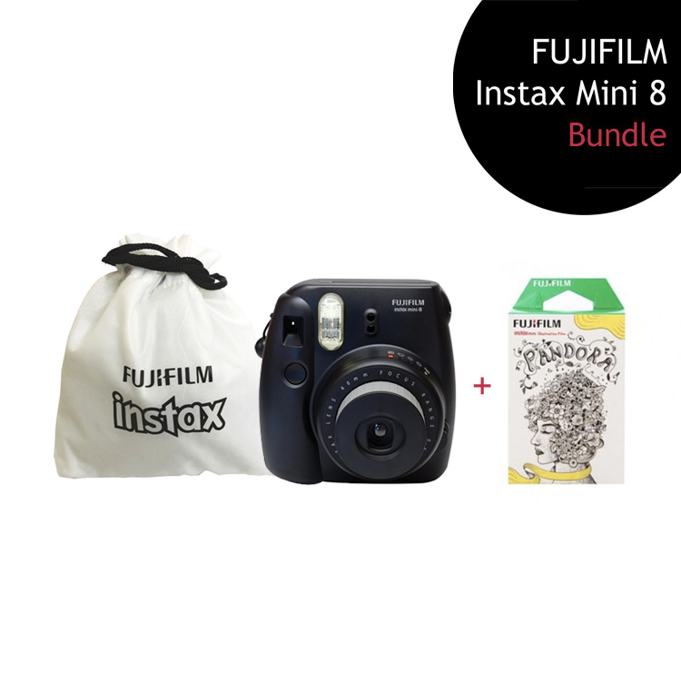 [Bundle] FUJIFILM Instax Mini 8 Camera (Black) + Pandora Film Pack + Instax Pouch by My Pocket Net Sdn Bhd