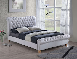 Chesterfield Style Faux Leather Sleigh Bedstead shown in White