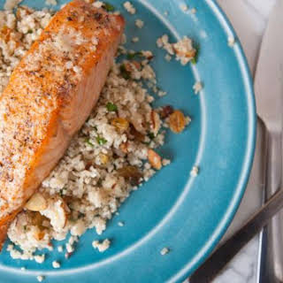 """Indian Spiced Salmon with Cauliflower """"Couscous""""."""