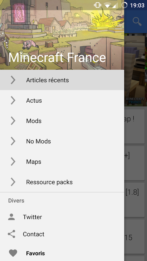 Appli Minecraft-France – Capture d'écran
