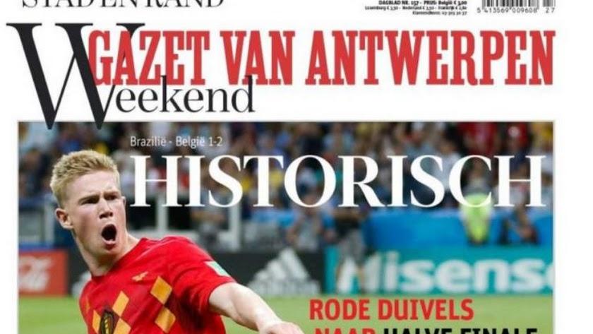 La prensa belga se rinde a sus futbolistas.