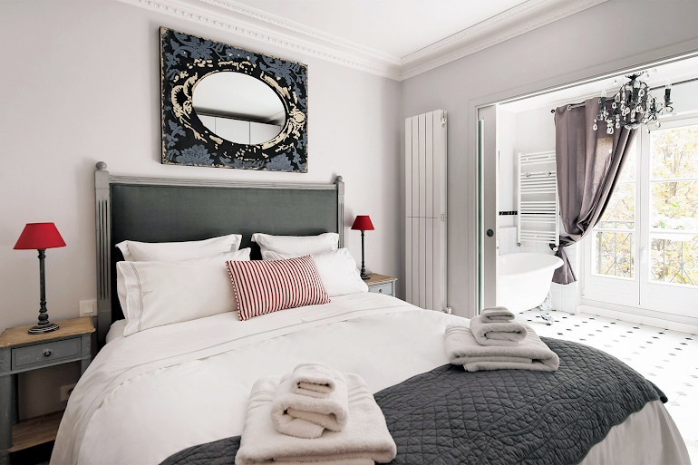 Luxury bedroom at Chambertin Serviced Apartment, Palais-Bourbon