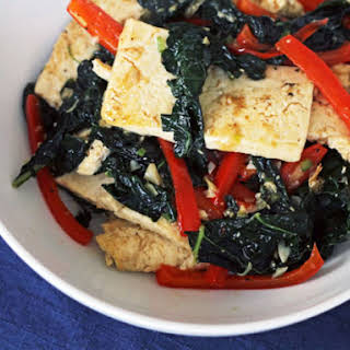 Spicy Stir-Fried Tofu With Kale and Red Pepper.