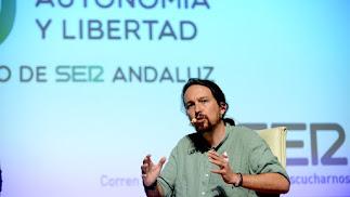 Pablo Iglesias, durante un acto organizado por la Cadena SER.