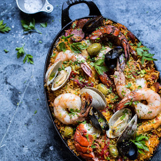 Skillet Grilled Seafood and Chorizo Paella..