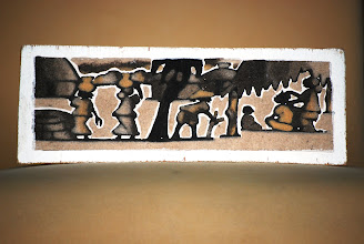 Photo: Winning Shell Number: 608  12. Sand painting black and white on wood depicting life in a village