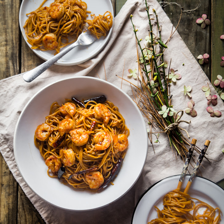 Spicy Kung Pao Noodles with Shrimp