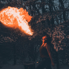 Playing with Fire by Sam Reed - People Portraits of Women ( snow, fire, winter, ohio, fire breathing )