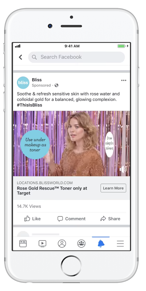 A Facebook ecommerce video ad example.