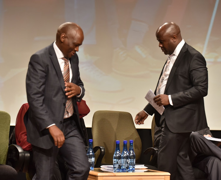 James Aguma, right, with Hlaudi Motsoeneng at the SABC's Auckland Park offices in Johannesburg. Picture: FREDDY MAVUNDA