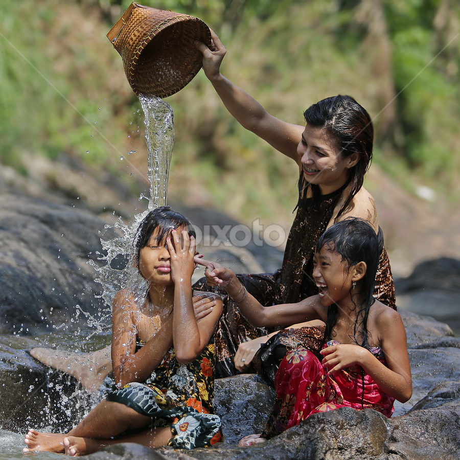 shower time by DODY KUSUMA  - People Family ( water, playing, splash, color, colors, object, filter forge, landscape, portrait, mom with kids, water drop )
