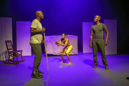 Seputla Sebogodi and his son Thapelo, right, face off in 'Flak My Son', currently on at the SA State Theatre, Pretoria.