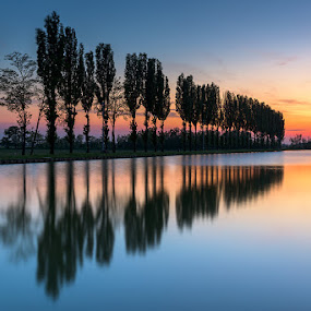 Reflections by Roberto Melotti - Landscapes Waterscapes ( water, roberto melotti, sky, trees, reflections, look-out, lake, perspective, sunrise, view, italy )