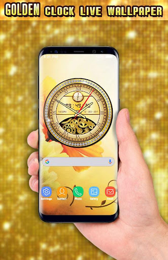 Golden Clock live wallpaper 2018 Gold Glitter Free 1.9 screenshots 8