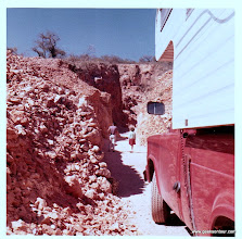 Photo: Near Queretero, Mexico.  An opal mine.  That's Chris in the red skirt up ahead.