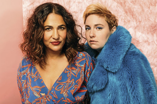 PARDON ME Lenny Letter founders Jenni Konner, left, and Lena Dunham pose at the Daily Front Row's Fashion Media Awards in New York Picture: Zack DeZon/Getty Images