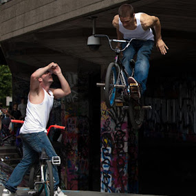 by Alex Newstead - Sports & Fitness Other Sports ( skate, pose, superman, london, park, southbank, bmx, high, vest, jump )