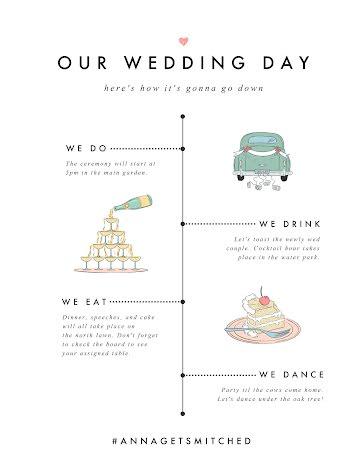 Wedding Day Timeline - Planner template