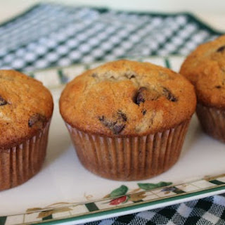 Chocolate Chip Banana Muffins with Walnuts.