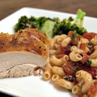 Ginger Roast Chicken and Elbow Macaroni with Tomatoes and Pan Sauce.