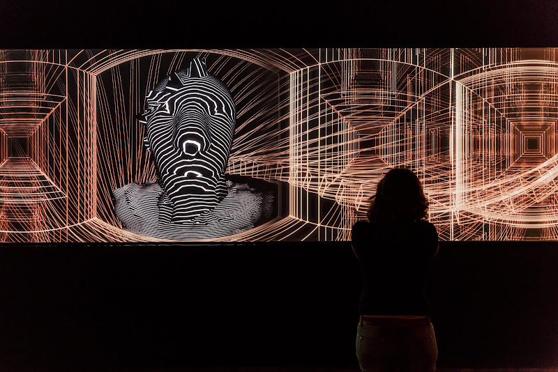 Digital dialogue (between a woman and the virtual man of a digital artwork) di Tindara