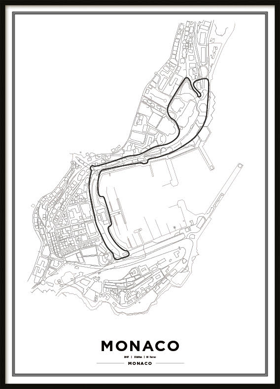 Poster, Monaco Park F1 white
