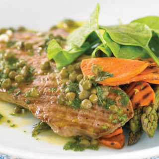 Veal with Sweet Potatoes, Asparagus and Caper Sauce