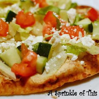 Hummus and Greek Salad Naan
