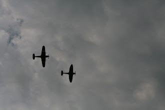Photo: BBMF Flypast, a Spitfire and a Hurricane