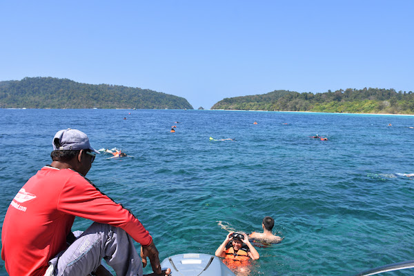 Open water snorkel stop just off the twin islands