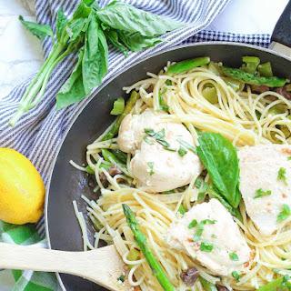 Chicken Pasta in Garlic Basil Butter Sauce.