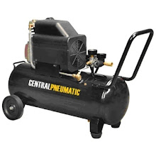 """Photo: 2-1/2 HP, 10 Gallon, 125 PSI Air Compressor ~$150 Air delivery: 5.3 SCFM @ 90 PSI 6.2 SCFM @ 40 PS I1/4""""-18 NPT Easy-to-carry handle and smooth-rolling wheels for hassle-free mobility Direct drive induction motor with thermal overload protection Clear view oil window lets you know when its time to refill oil High impact ABS shroud for maximum protection Easy-to-read pressure/regulator gauges indicate CFM and PSI 120 volts, 14.1 amps 60 Hz 3400 RPM 125 PSI max working pressure Air delivery: 5.3 SCFM @ 90 PSI Cord length 6 ft. Overall dimensions: 36''L X 22-1/4''W X 13-1/4''H"""