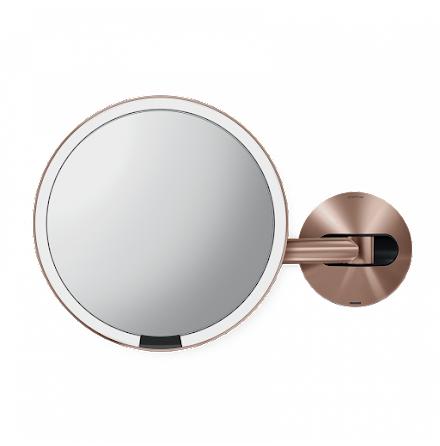 Väggmonterad Sensorstyrd Sminkspegel med Belysning Simplehuman  5x Förstoring, Rosenguld