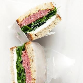 Salami and Cream Cheese Sandwich .