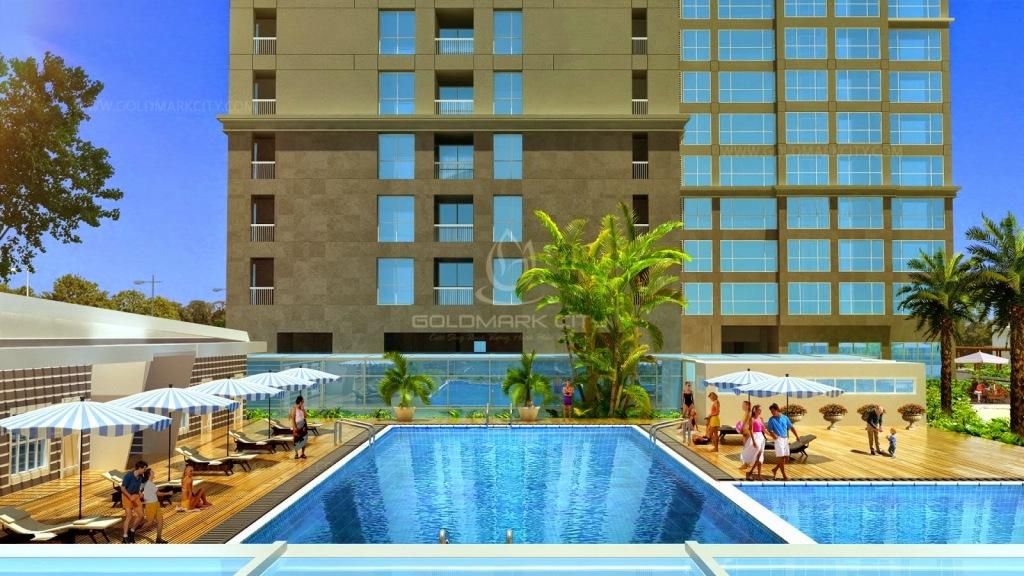 Bể bơi ngoài trời tại chung cư Goldmark City