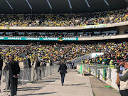 Crowd gathered at Orlando Stadium in Soweto for the funeral service of Winnie Madikizela-Mandela.
