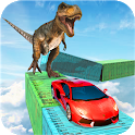 Dino car chase on impossible tracks new 2019 icon