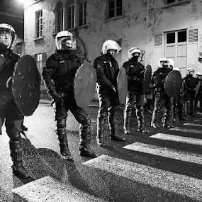 Anti-riot squad by Max Mayorov - Professional People Law Enforcement ( leuven, squad, police, meeting, nsv, belgium, night, riot, demonstration )