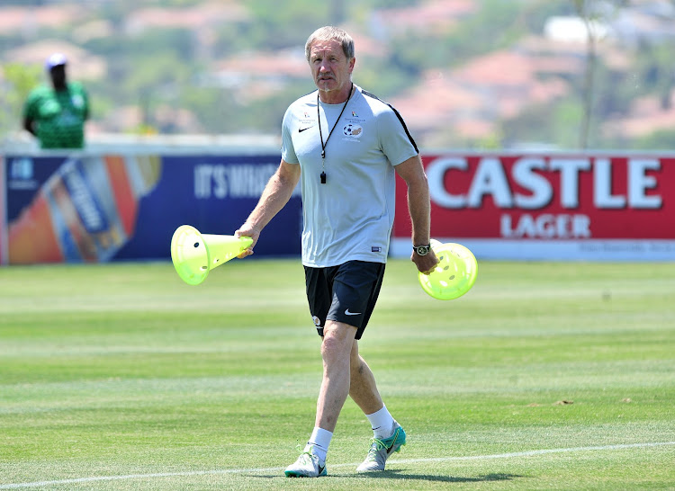 Bafana Bafana coach Stuart Baxter during a training session at Steyn City School, Johannesburg on October 9, 2018.