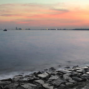 The Sea by Kai Jian - Landscapes Waterscapes ( labrador park, sunset, long exposure, waterscapes, singapore )