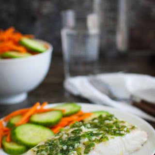 Roasted Halibut with Cilantro-Lime Sauce.
