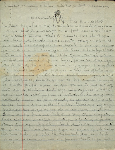 Letter from Frida Kahlo to Alejandro Gómez Arias, January 1, 1925 Page 1 de 1