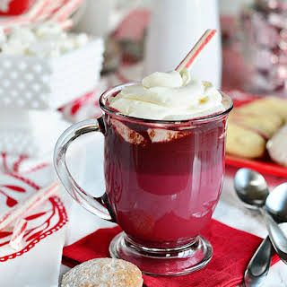 Red Velvet Hot Chocolate with Cream Cheese Whipped Cream.