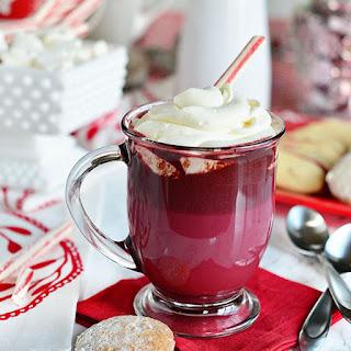 Red Velvet Hot Chocolate with Cream Cheese Whipped Cream.